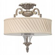 Kingsley 3 Light Semi-Flush Fitting in a Silver Leaf Finish with a Dark Ivory Pleated Fabric Shade - HK/KINGSLEY/SF